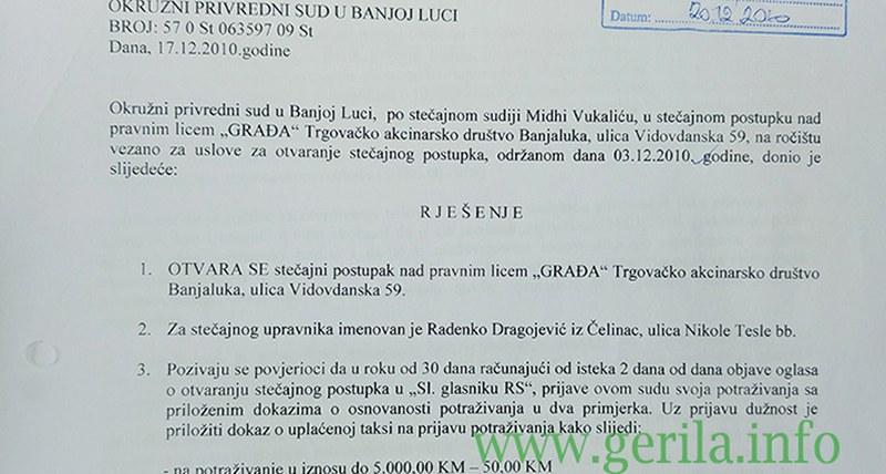 Slučaj -Gradja- Samovolja i ugovor s kompanijom -Dušanić- firmu odveli u stečaj, a radnike na ulicu