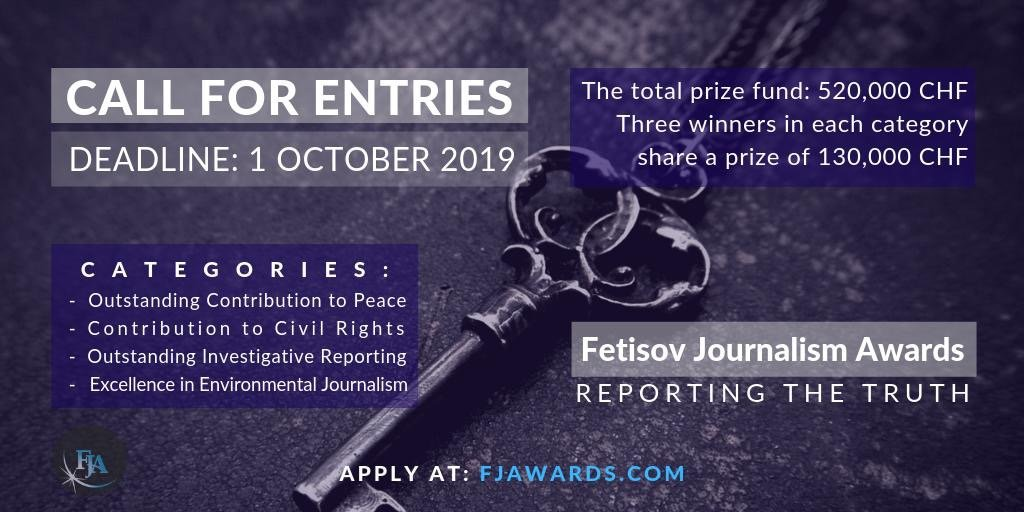 Konkurišite za novinarsku nagradu Fetisov do 1. oktobra