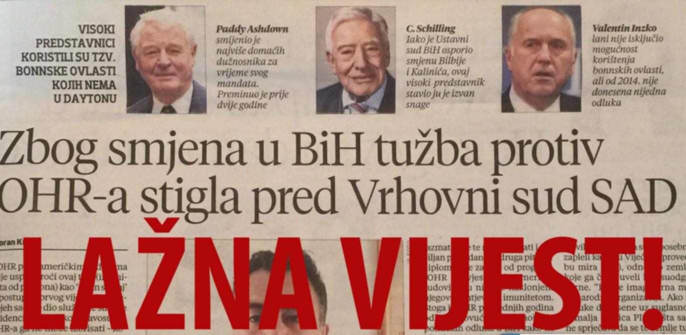 Lažna vijest o američkom Vrhovnom sudu – sredstvo za manipulaciju javnošću u BiH